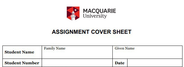 Macquarie University Assignment Cover Sheet