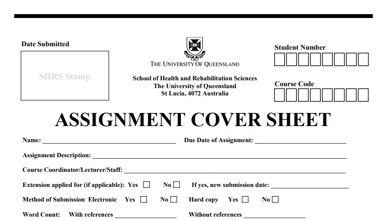 Queensland University Assignment Cover Sheet